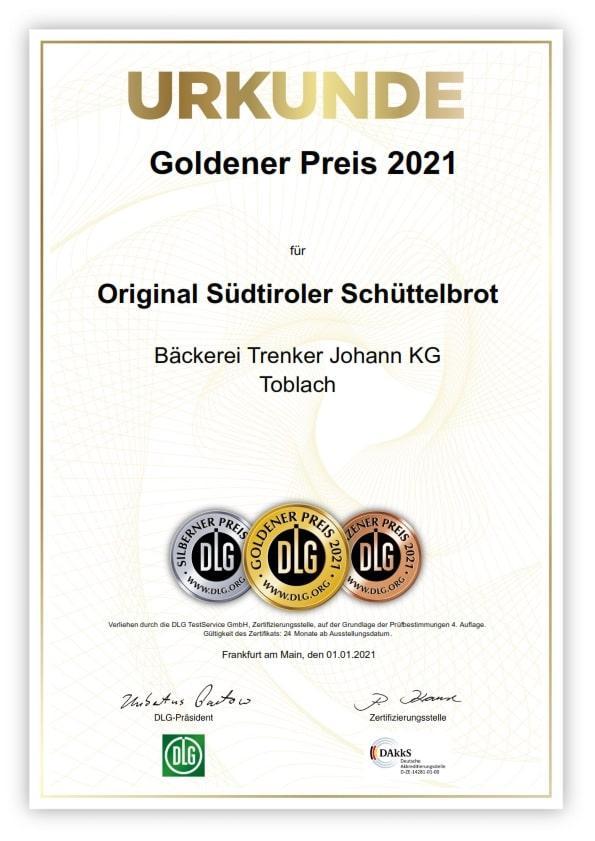 Schüttelbrot Goldener Preis 2021